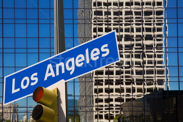 LA Los Angeles downtown wit road sign photo mount  Stock photo © lunamarina