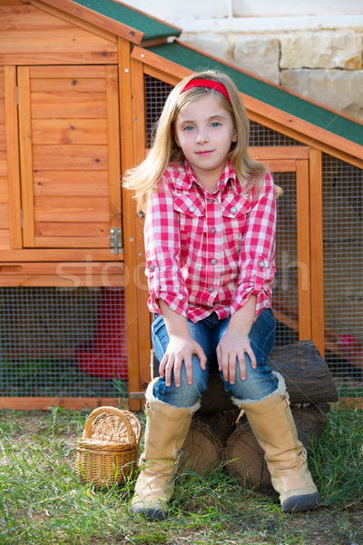 breeder hens kid girl rancher farmer sitting in chicken tractor Stock photo © lunamarina