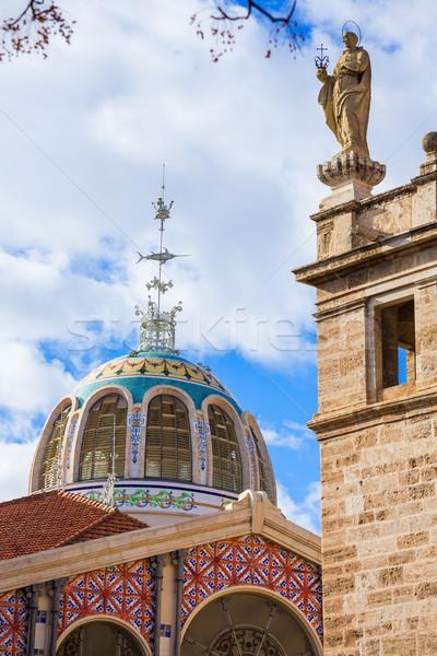 Valencia központi piac szabadtér kupola Spanyolország Stock fotó © lunamarina