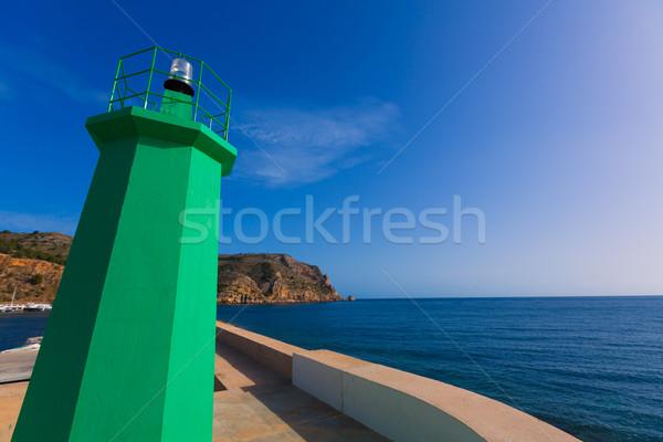 Zöld világítótorony jelzőtűz Spanyolország kikötő mediterrán Stock fotó © lunamarina