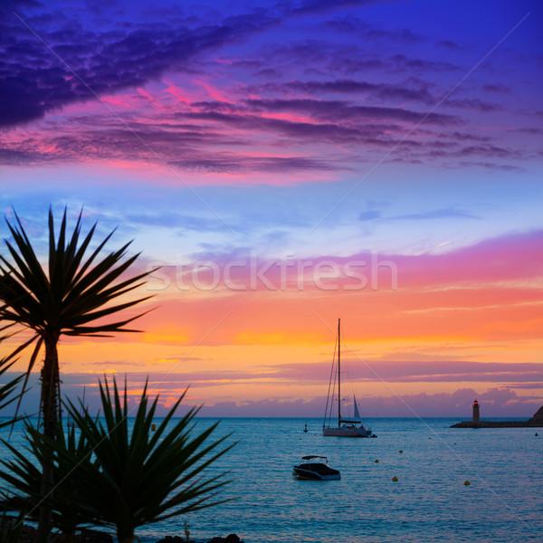 Foto stock: Mallorca · porta · pôr · do · sol · Espanha · mar
