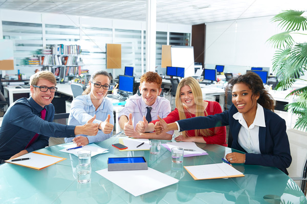 Stock photo: Multi ethnic business meeting thumbs up gesture