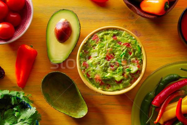 Comida mexicana mixto chile aguacate salsa tomates Foto stock © lunamarina