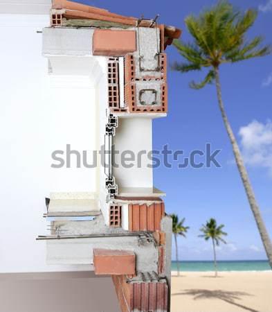 Foto stock: Fachada · parede · seção · transversal · real · tijolo · blocos