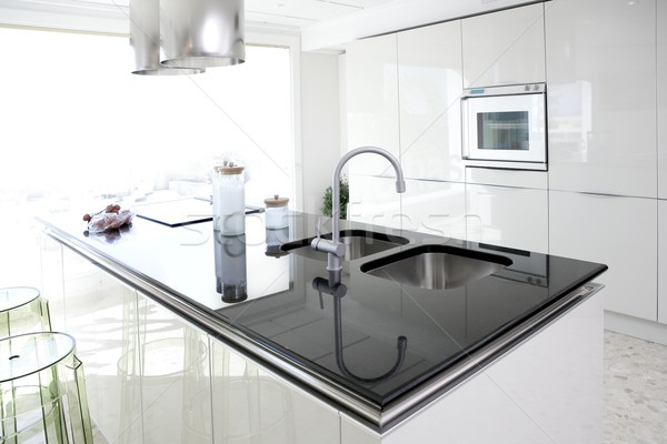 Stock fotó: Modern · fehér · konyha · tiszta · belsőépítészet · otthon