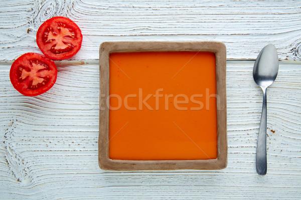 Tomato sauce on square dish and white wood Stock photo © lunamarina