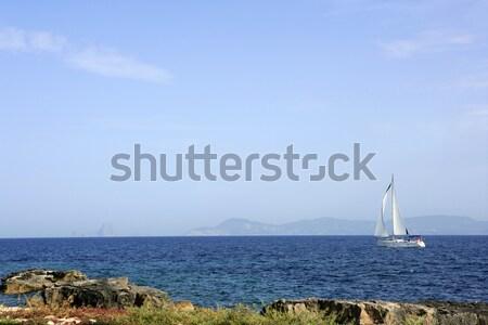 Denia Las Rotas Trampoli beach and tower Spain Stock photo © lunamarina
