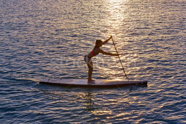 Сток-фото: стоять · вверх · поиск · девушки · воды · счастливым