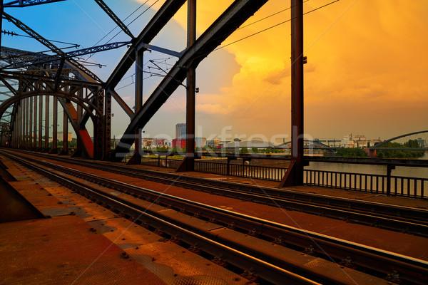 Berlin demiryolu köprü nehir iş gün batımı Stok fotoğraf © lunamarina