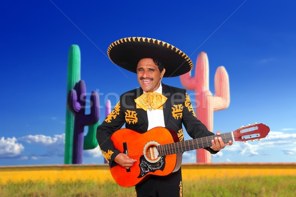 Mexican mariachi charro playing guitar in cactus Stock photo © lunamarina