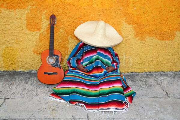 Mexican typical lazy man sombrero hat guitar serape Stock photo © lunamarina