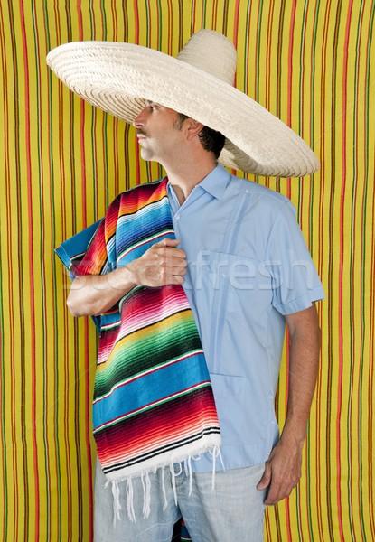 Stock fotó: Mexikói · férfi · kalap · szombréró · citromsárga · csíkok