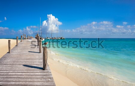 boat in wood pier Cancun tropical Caribbean sea Stock photo © lunamarina