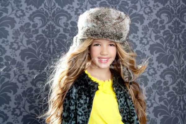 ストックフォト: 子供 · ファッション · 少女 · 冬 · ヒョウ · コート