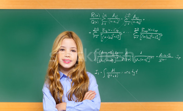 kid smart student girl with difficult math formula Stock photo © lunamarina