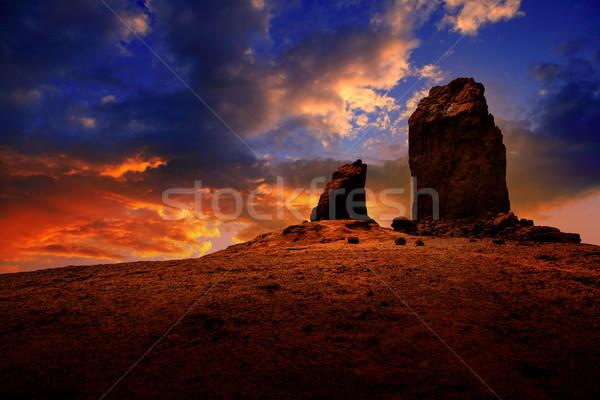 Gran canaria roque nublo dramatic sunset sky Stock photo © lunamarina