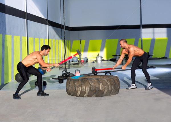 Crossfit szánkó kalapács férfiak edzés tornaterem Stock fotó © lunamarina