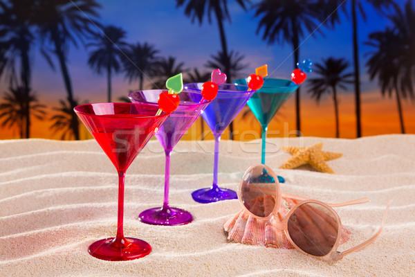 Stok fotoğraf: Renkli · kokteyl · kiraz · kum · palmiye · ağaçları