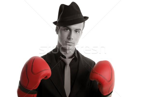 ボクサー 小さな 競争力のある ビジネスマン 孤立した 白 ストックフォト © lunamarina