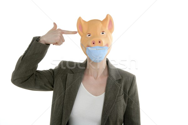 Sertés influenza metafora nő malac maszk Stock fotó © lunamarina