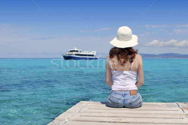 Tourist back woman looking Formentera turquoise sea Stock photo © lunamarina