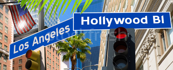Hollywood Los angeles redlight signs on California photo-mount Stock photo © lunamarina