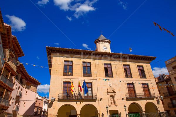 Mora de Rubielos Teruel Town Hall square Aragon Stock photo © lunamarina