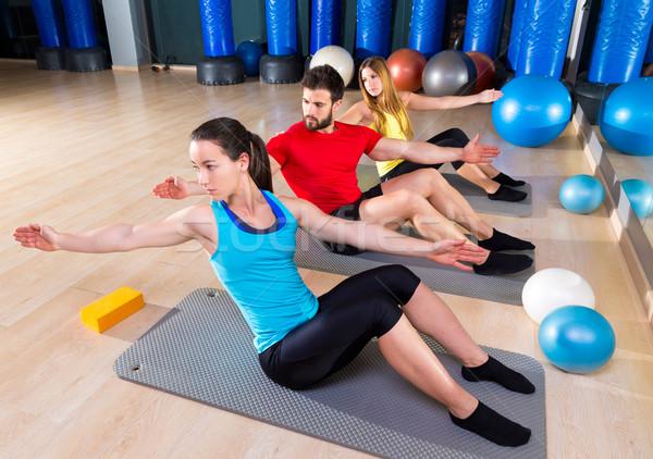 Pilates emberek csoport testmozgás férfi nők Stock fotó © lunamarina