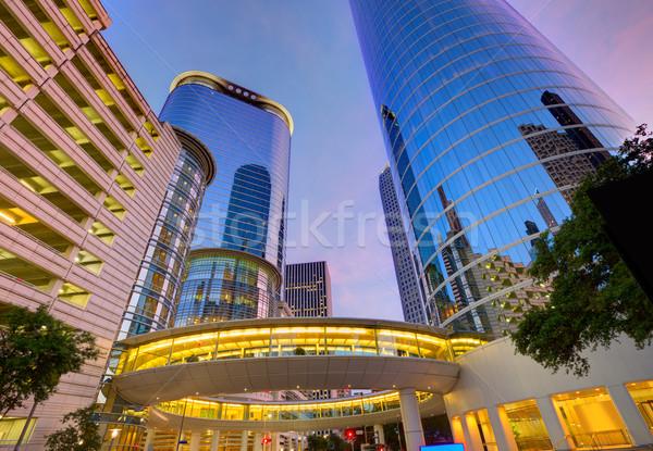 Foto stock: Houston · centro · de · la · ciudad · puesta · de · sol · rascacielos · Texas · moderna