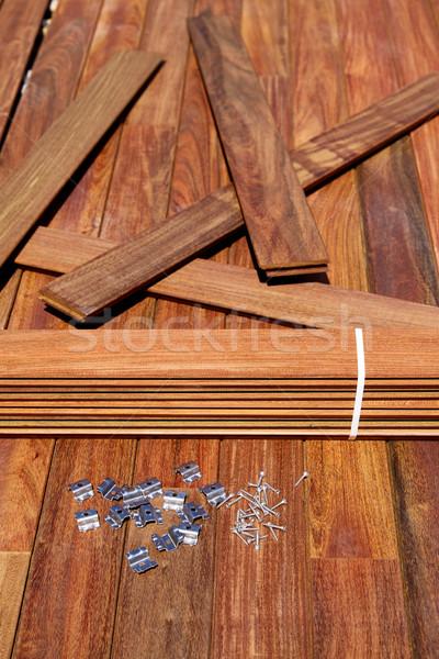 Dek hout installatie boom home retro Stockfoto © lunamarina