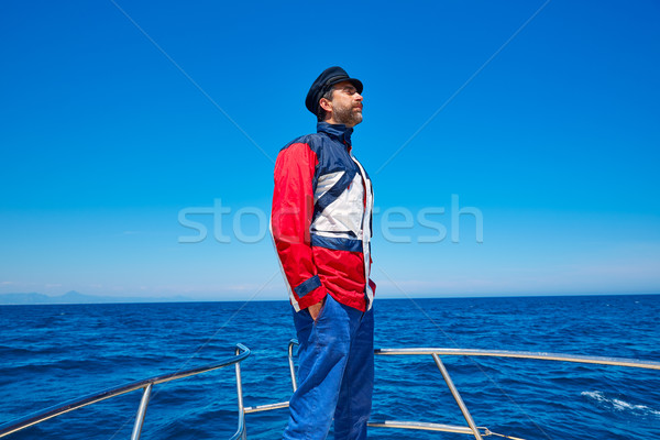 Photo stock: Barbe · marin · cap · homme · voile · mer