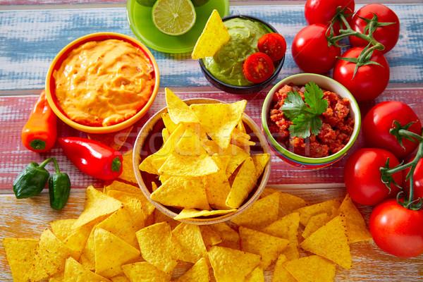 Comida mexicana nachos chile salsa restaurante Foto stock © lunamarina