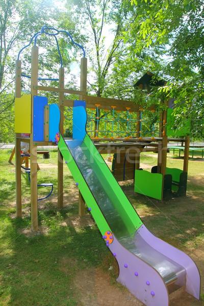 カラフル スライド 子供 公園 屋外 自然 ストックフォト © lunamarina