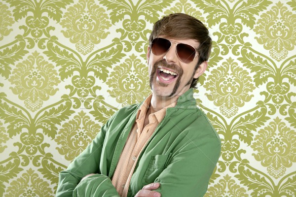 geek retro salesperson man funny mustache Stock photo © lunamarina