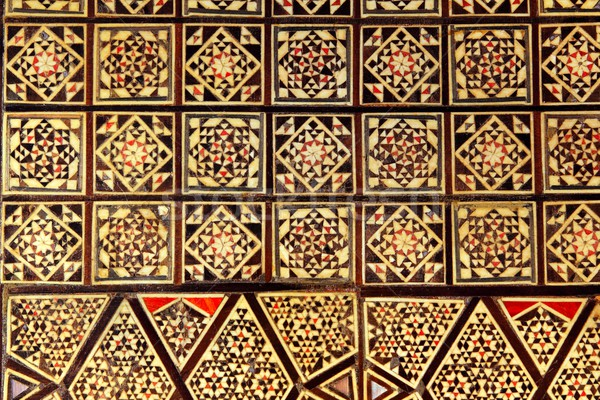Asian handcraft inlaid mosaic wood box cover Stock photo © lunamarina