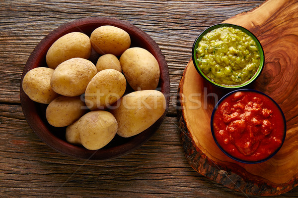 Papas al mojo Canary islands wrinkled potatoes Stock photo © lunamarina