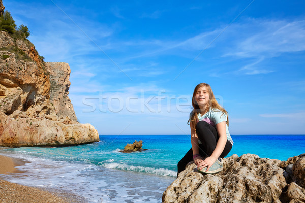 Blond tourist kid girl happy in Mediterranean Stock photo © lunamarina