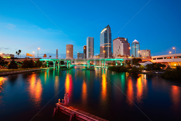 Florida Tampa skyline at sunset in US Stock photo © lunamarina
