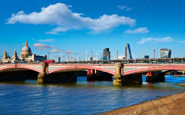 London Blackfriars bridge in Thames river Stock photo © lunamarina