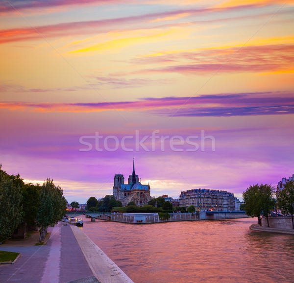 Notre Dame Katedrali Paris gün batımı nehir Fransa gökyüzü Stok fotoğraf © lunamarina