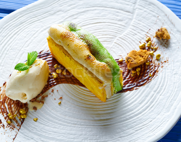 Cannelle pistache crème alimentaire fond restaurant Photo stock © lunamarina