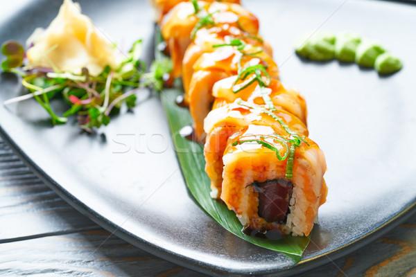 Arroz maki sushi manga doce cebola Foto stock © lunamarina