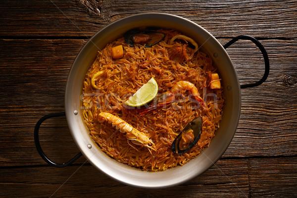 Fideua seafood Paella recipe for two of Spain Stock photo © lunamarina
