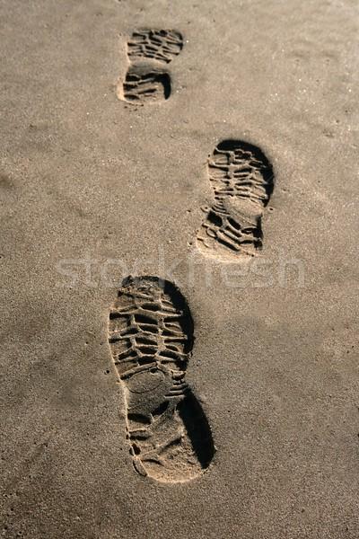 footprint shoe on beach brown sand texture print Stock photo © lunamarina