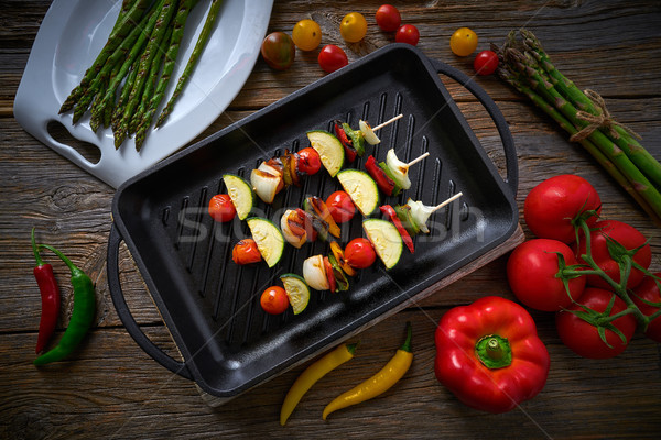 brochette grill with tomato onion pepper zucchini Stock photo © lunamarina