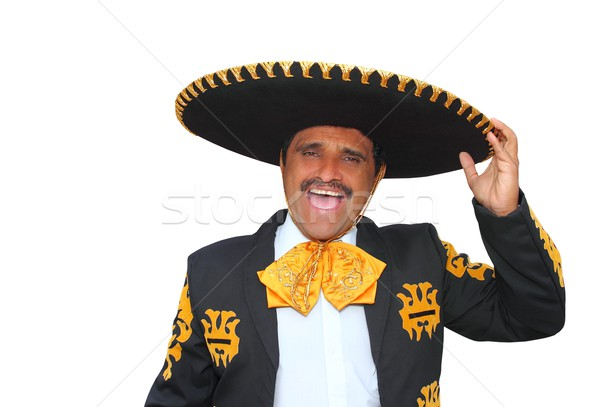 Charro mariachi portrait singing shout on white Stock photo © lunamarina