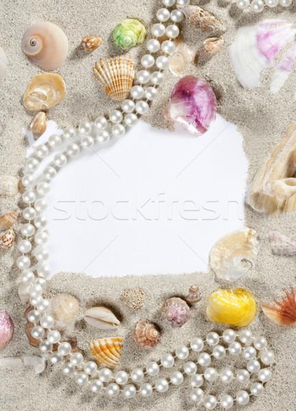 Stock fotó: Keret · keret · nyár · tengerpart · kagyló · gyöngy