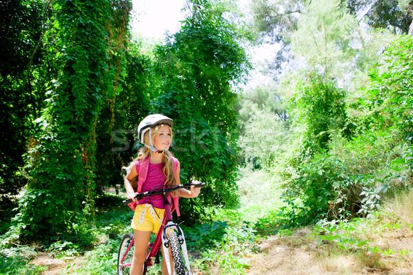 Stockfoto: Kinderen · meisje · paardrijden · fiets · outdoor · bos