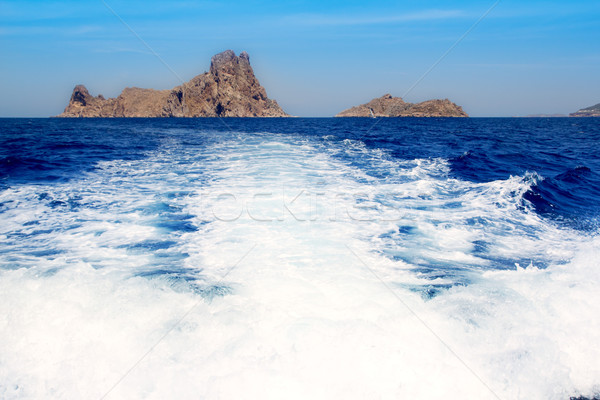 Ibiza Es Vedra from boat prop wash wake Stock photo © lunamarina