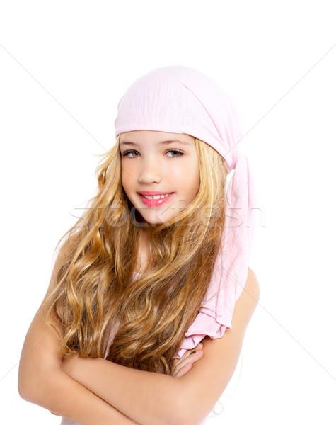 Gyerek lány kalóz zsebkendő gyönyörű portré Stock fotó © lunamarina
